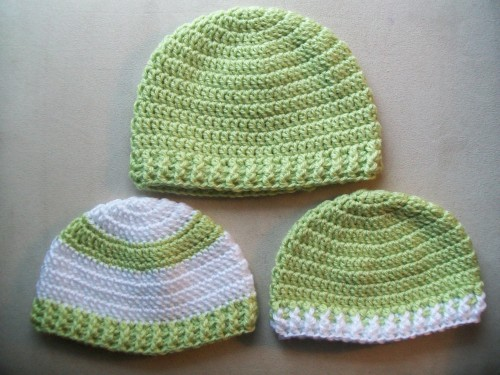 a collection of crochet baby hats great for gifts