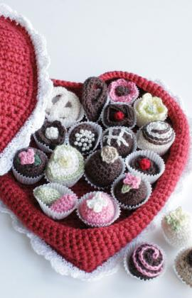 a crochet box of chocolates great for valentines day