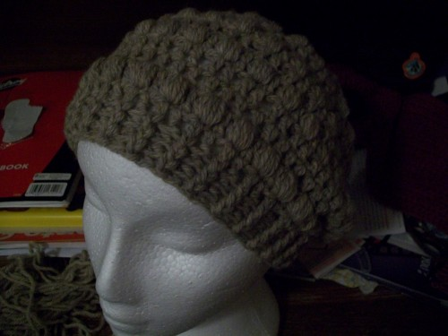 a patons natural blend classic wool crochet puff stitch slouch beanie adult size front view