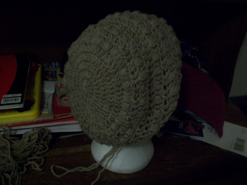 a patons natural blend classic wool crochet puff stitch slouch beanie adult size back view