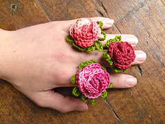 crochet rose flower ring