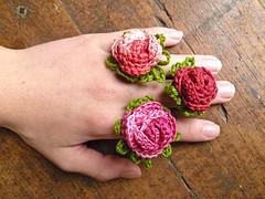 crochet rose flower ring