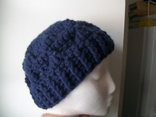 crochet tezzie hat made with chunky yarn child size