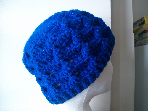blue shimmer crochet tezzie hat adult size