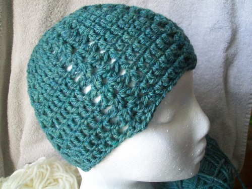 a double crochet shell beanie hat made with patons classic wool jade