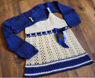 crochet blue and white dress with bolero child size