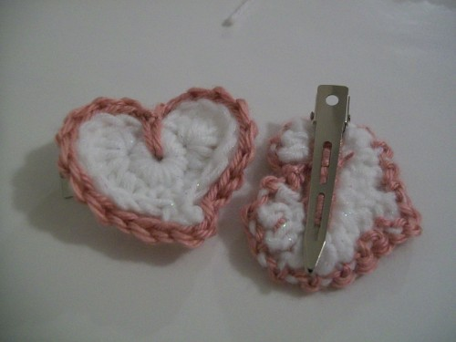 crochet heart accessory clip on great valentines day gift