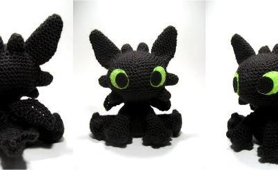 crochet amigurumi dragon black toothless from the film how to train your dragon