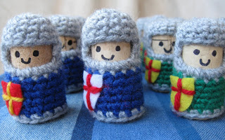 crochet knights made from bottle corks