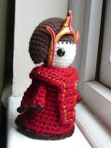 crochet queen amidala amigurumi doll red dress