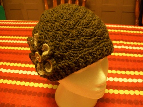 green crochet shell beanie hat with flower
