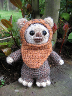 a crochet star wars amigurumi ewok doll