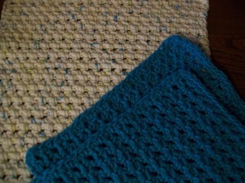 close up spa crochet washcloth laying flat