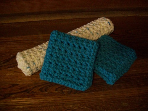spa crochet washcloth gift set
