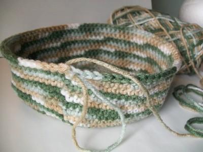 single crochet beanie work in progress made with self changing yarn