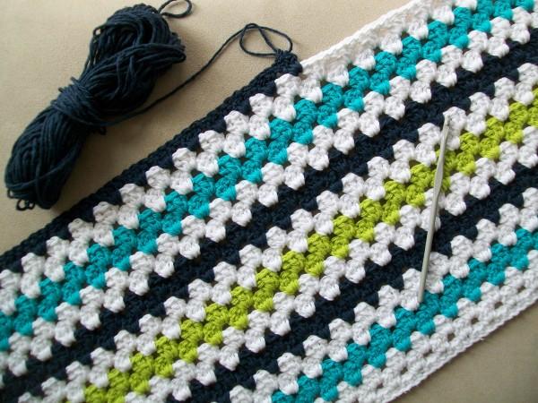 crochet modern granny stripe baby blanket   Crochet Cricket