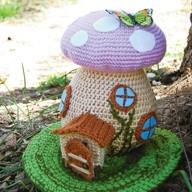 crochet spring fairy house
