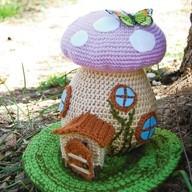 crochet spring fairy house